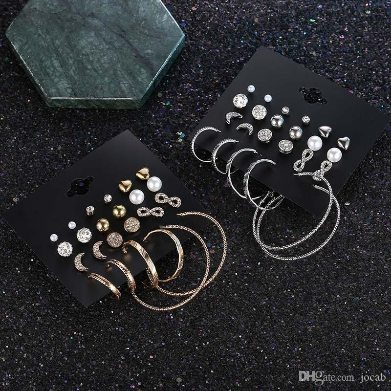 72a4d9c320 2019 New Fashion 12 Pairs/Set Fashion Crystal Infinite Earrings Set For  Women Bijoux Simulated Pearl Ball Big Circle Wedding Earring Jewelry