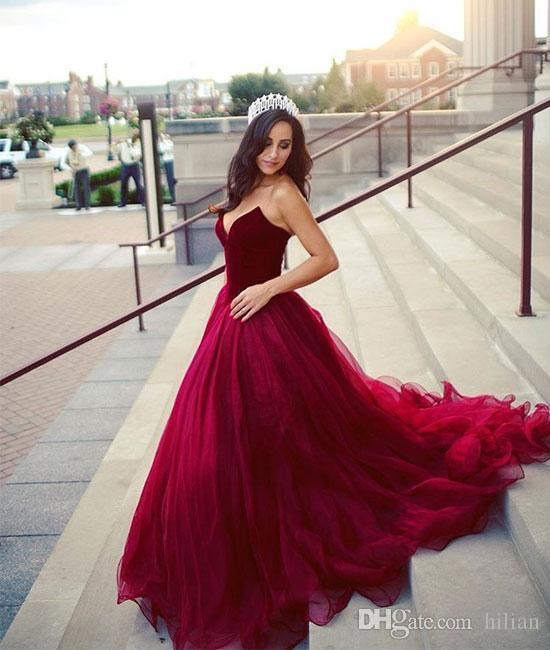 75971d5dc72fc Women Fashion Rose Red Sweethear Tulle Ball Gown Long Evening Dress Lace Up  Back Prom Dress For Formal Occasion Party Custom Plus Size Dresses For  Formal ...