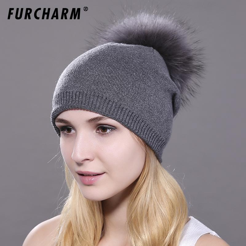 80f6c206924 Women S Winter Hats Wool Knitted Cap With Real Raccoon Fur Pompoms Female  Causal Bonnet Hat Warm Ski Hats For Women C18112301 Cap Shop Knitted Hat  From ...