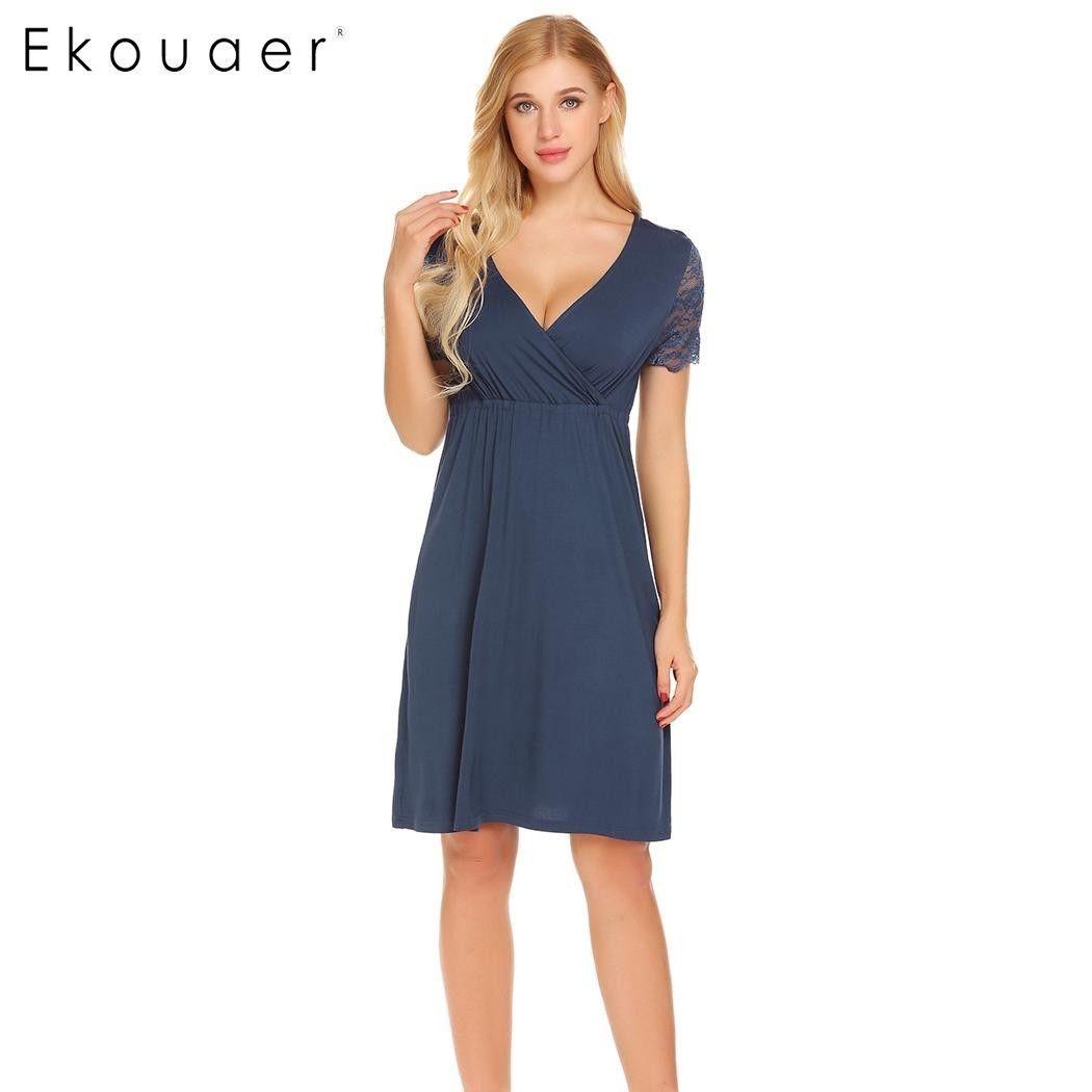 18142897553 2019 Ekouaer Women Nursing Sleepwear Lace Short Sleeve Nightgown Faux Wrap  V Neck Nightdress Nightwear Female Home Clothes Y19042004 From Shenyan01
