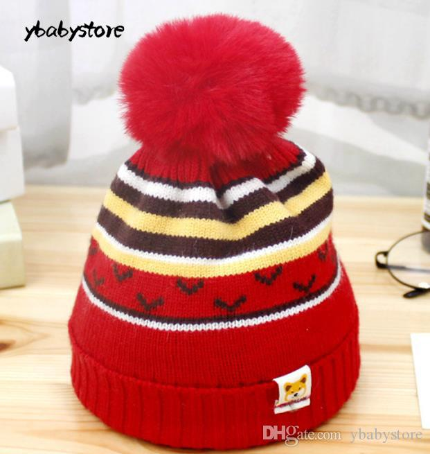 9f3b6ce8835 2019 New Autumn And Winter Children Knitted Hat Cartoon Bear Woolen Hat Red  Pink Gray Beige Blue Baby Cap From Ybabystore