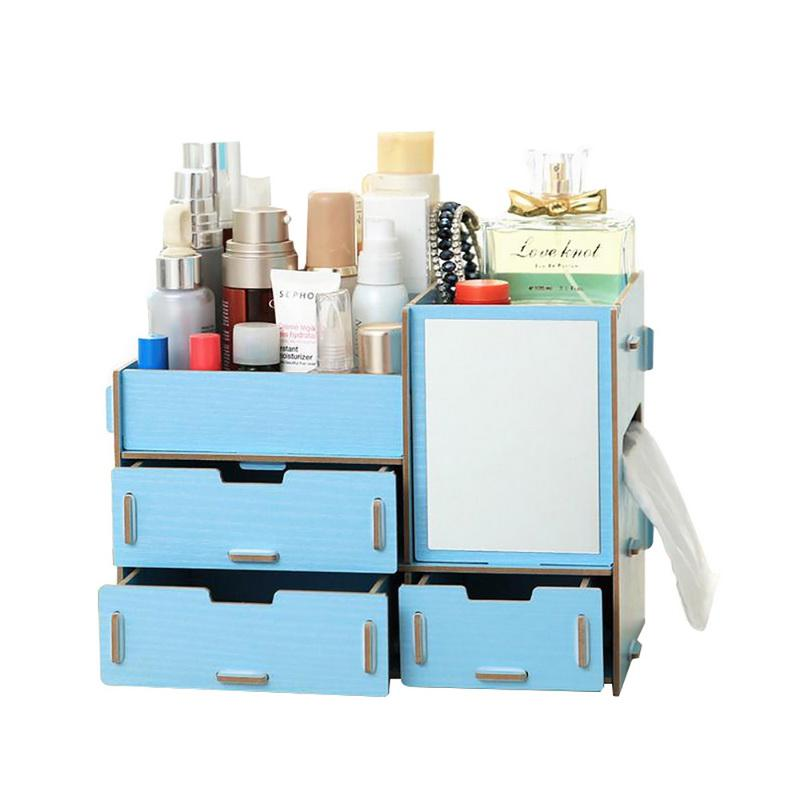 2019 Wooden Jewelry Container Makeup Organizer Case DIY Assembly Cosmetic Organizer Handmade Office Table Storage Box From Hymen, $39.3 | DHgate.Com