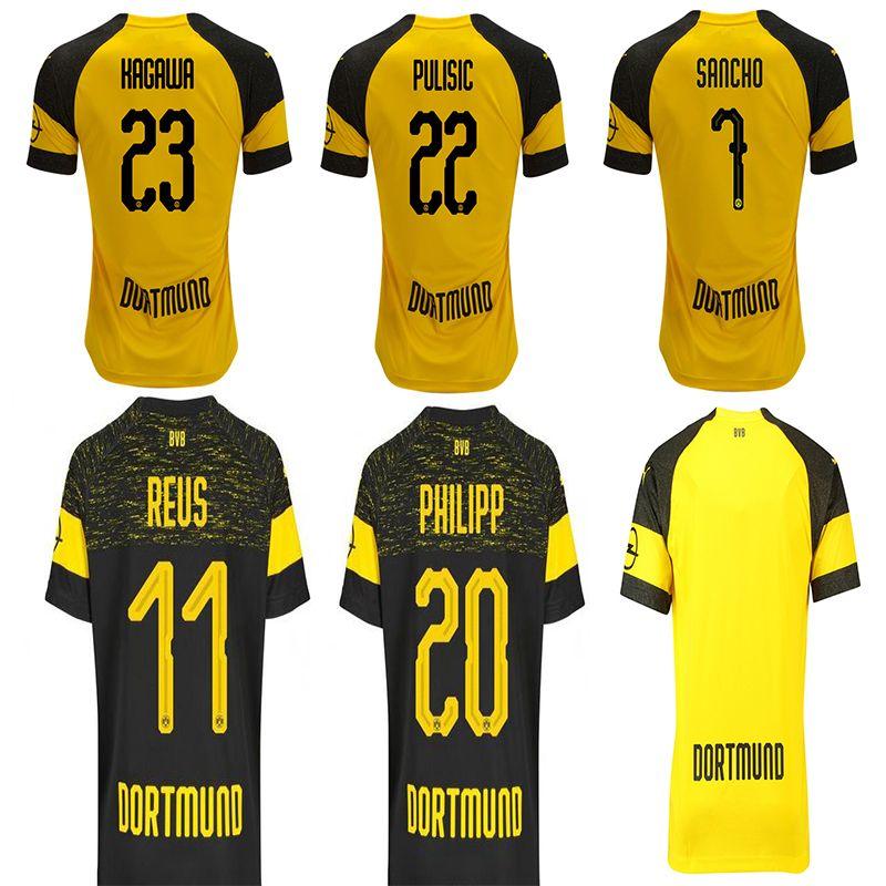 official photos 690ca c18eb 3XL 4XL BVB Borussia Dortmund Soccer Jersey 2019 PHILIPP GOTZE REUS PULISIC  WITSEL Jersey 18 19 PACO ALCACER Football kit shirt