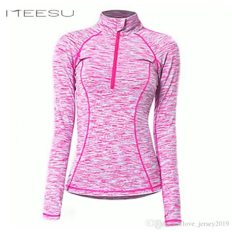 order size 40 official shop Women Yoga Long sleeve Shirts Female autumn winter Fitness Shirt Quick-Dry  Single Workout Top Tight Standing collar zipper #163554