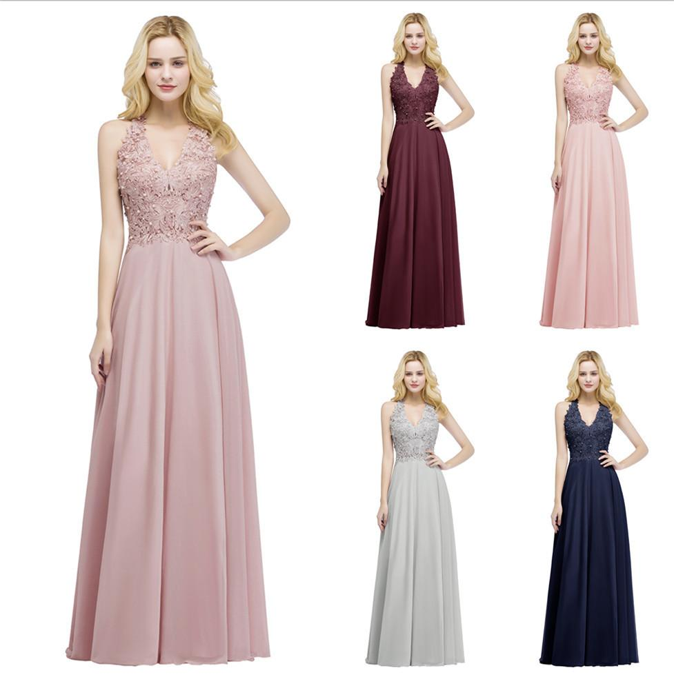 a3257dbd6fc54 Babyonline Sexy V Neck Lace Appliques Long Pink Evening Dresses 2019 Pearls  Backless Party Dresses Formal Dress Robe De Soiree Y190525