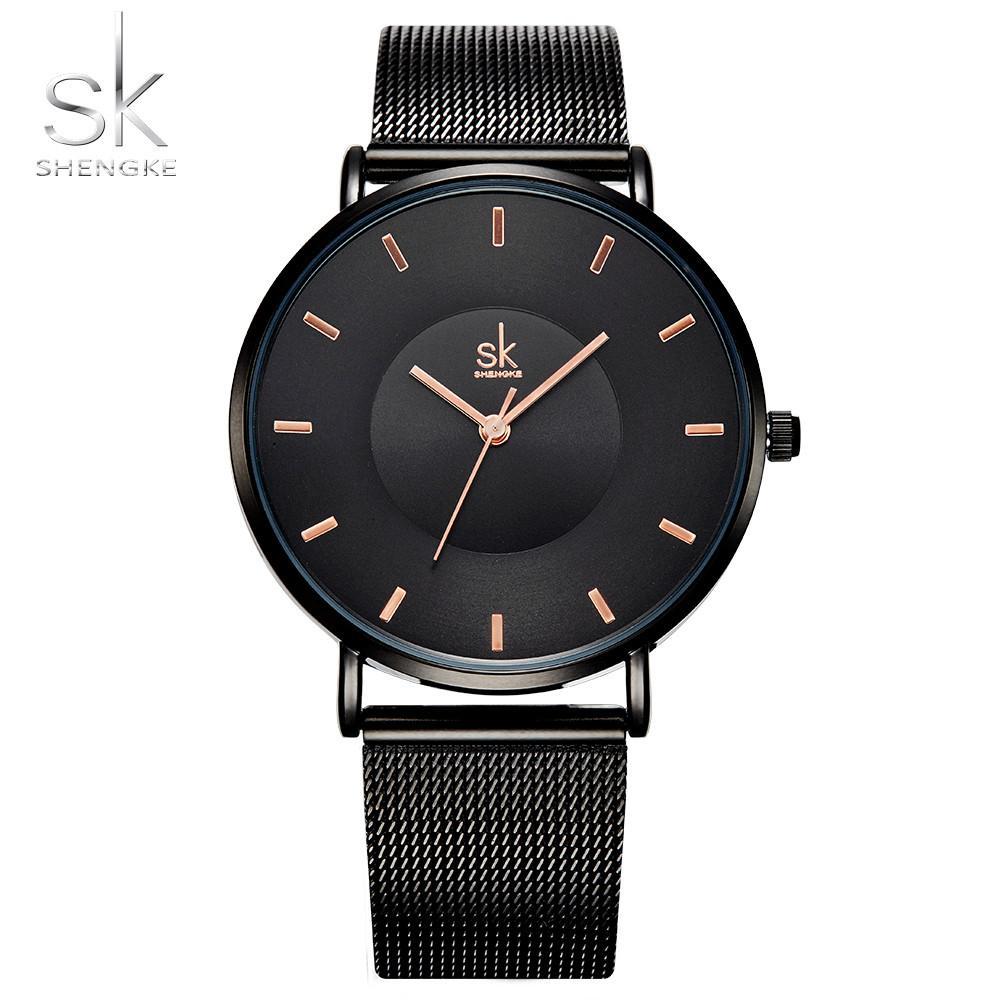 6c8e492fa628 Compre Shengke Moda Negro Relojes De Las Mujeres 2017 De Alta Calidad Ultra  Delgado Reloj De Cuarzo Mujer Elegante Vestido De Señoras Reloj Montre  Femme SK ...