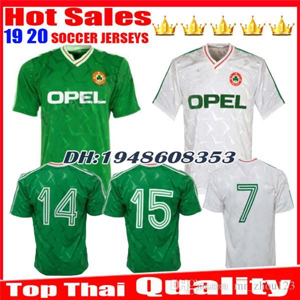 07048e17e 2019 1990 1992 Top Thai Quality Ireland Retro Soccer Jersey 1990 World Cup  Ireland Home Classic Jersey Vintage Irish Sheedy Size Football Shirts From  ...