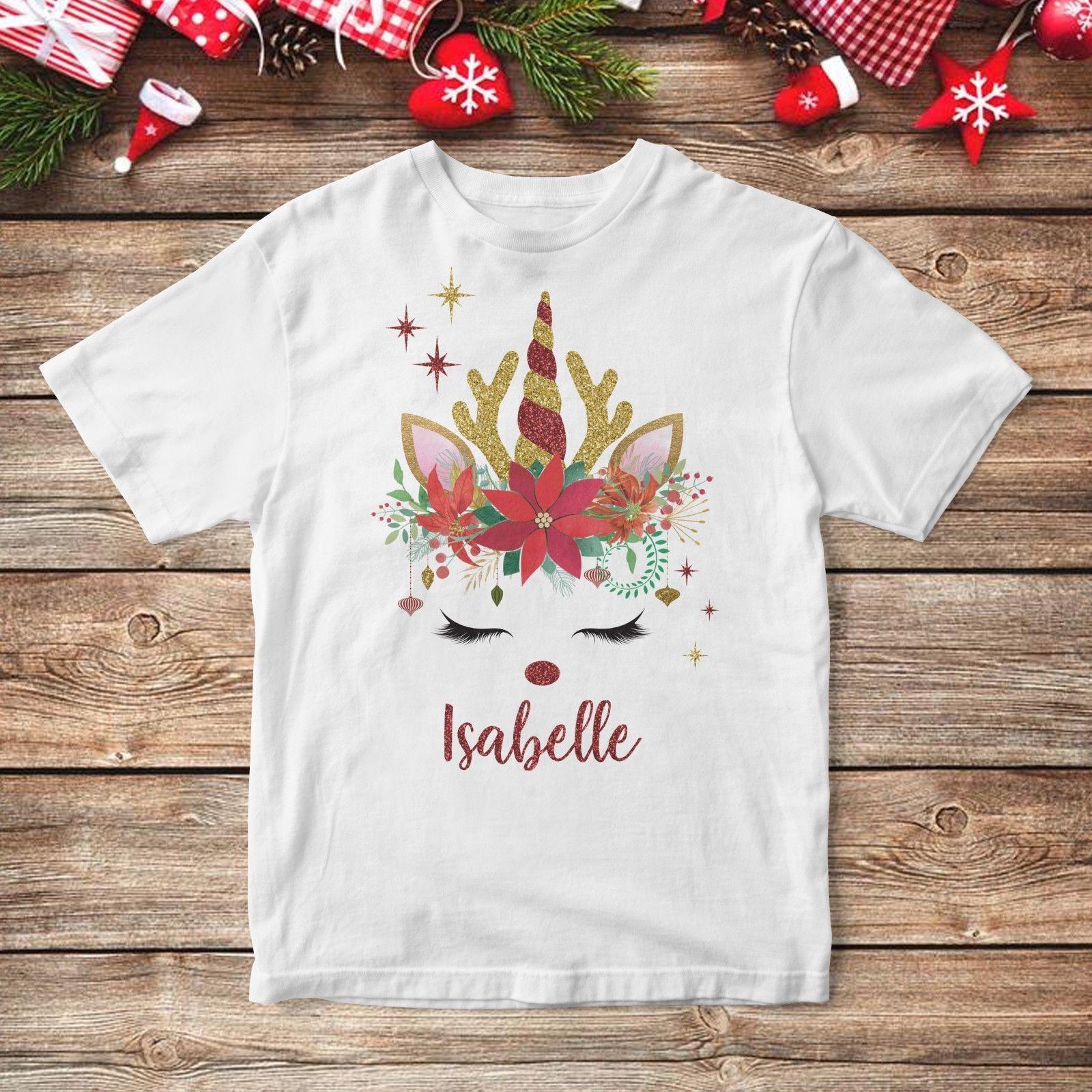 6eb012355 Compre Camiseta Personalizada De La Navidad Del Reno Del Unicornio Del  Brillo Regalo Secreto Lindo De Papá Noel A $11.48 Del Summernight88 |  DHgate.Com