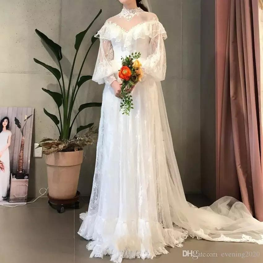 Graceful Lace A Line Wedding Dresses High Neck Long Sleeve Covered