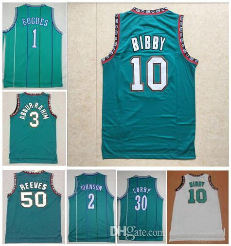 purchase cheap 4591a fa33e Best-Quality embroidery #1 Tyrone Bogues Jersey Vintage Green Larry #2  Johnson Jerseys #10 Mike Bibby 3# Shareef Abdur-Rahim Jersey Stitched