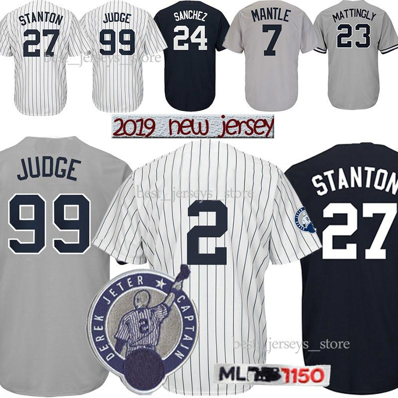 wholesale dealer 1e83f 89094 99 Aaron Judge New York jerseys Yankees 2 DJ 27 GS 3 Babe Ruth 42 Mariano  Rivera 7 Mickey Mantle jersey Best selling Jersey
