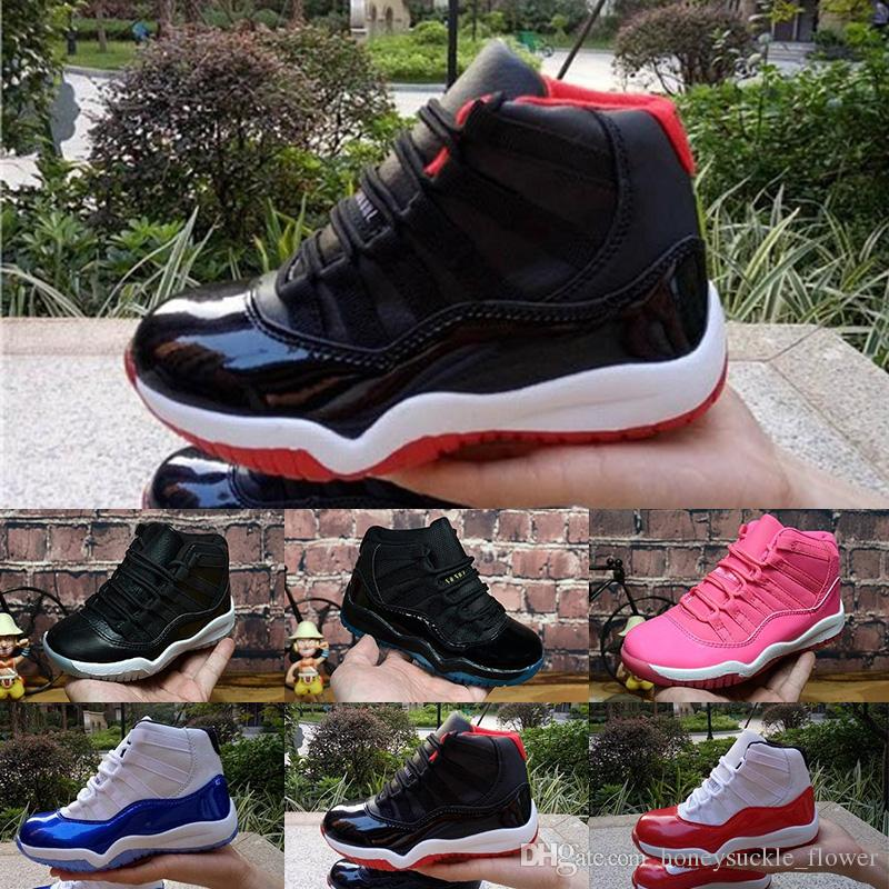 3f79f18e83f959 2018 Kids 1s Basketball Shoes Children Boy Girl 1 Bred Black Red ...