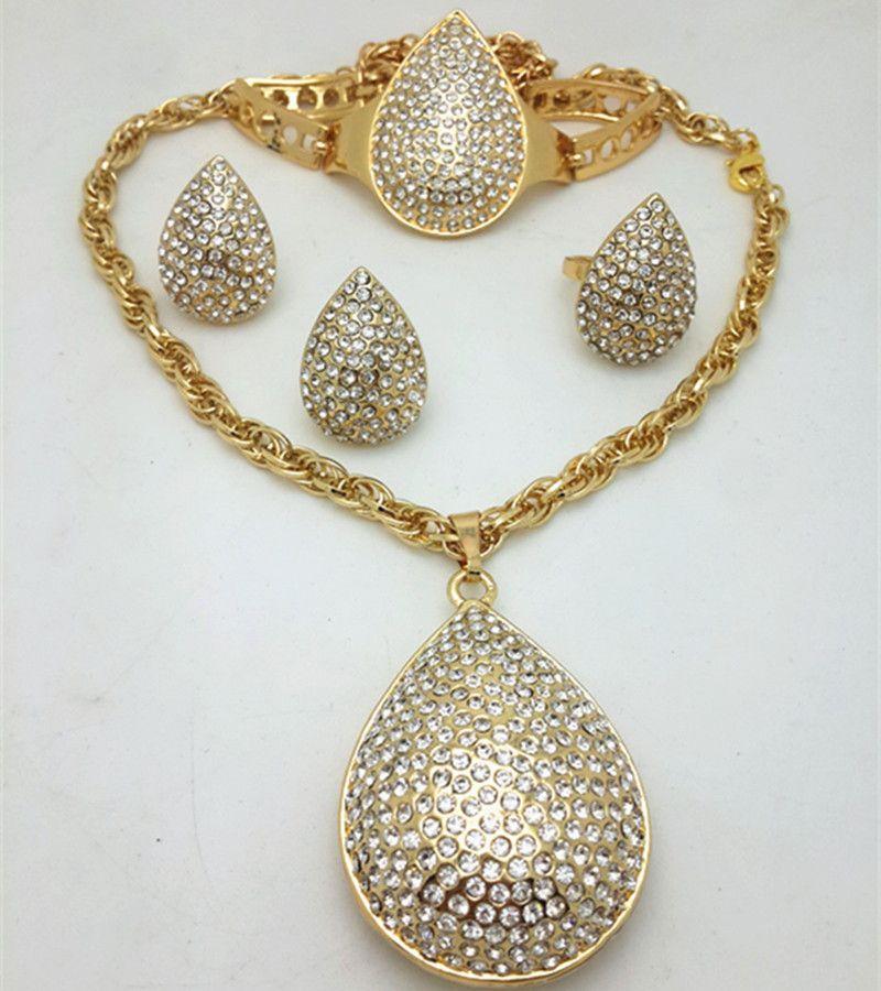 Hochzeits- & Verlobungs-schmuck Schmuck & Zubehör Unter Der Voraussetzung Farbe Gold Schmuck Sets Für Frauen Hochzeit Dubai Afrikanische Perlen Schmuck-set Halskette Ohrringe Armband Ring Schmuck