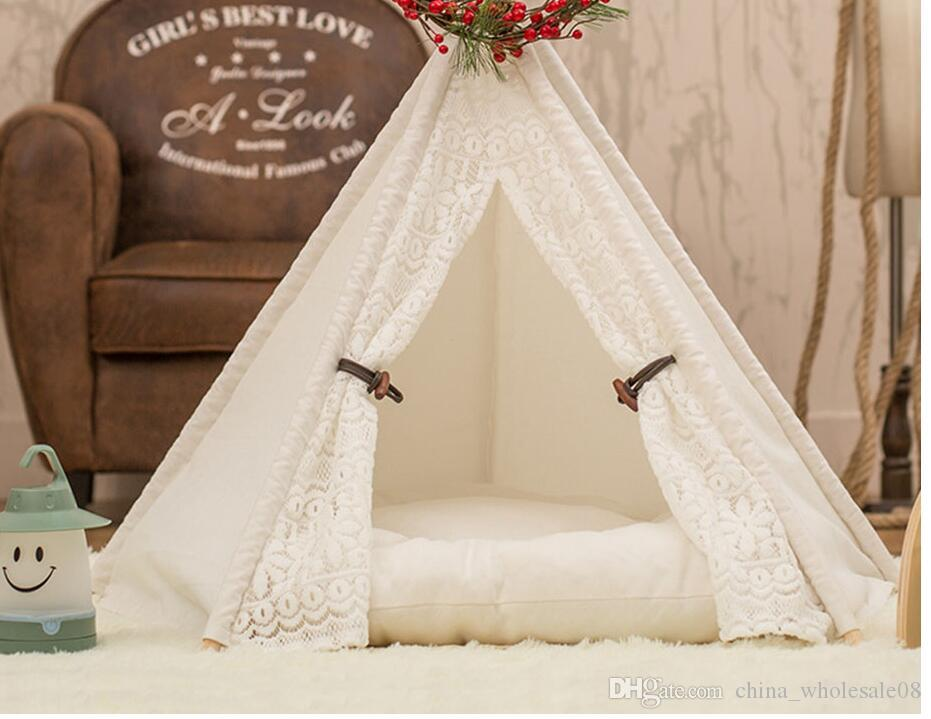 2019 folding portable pet teepee cotton canvas tent dogs cats bed rh dhgate com