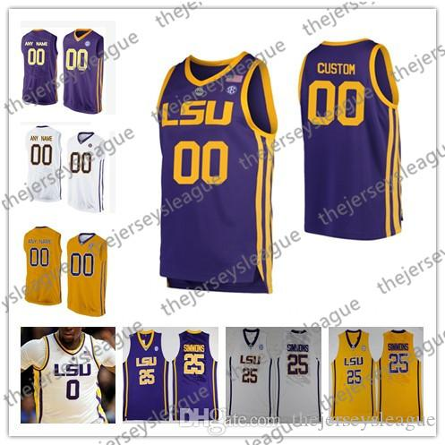 low cost fac73 6554c LSU Tigers Custom 2019 Retro Any Name Number Stitched Yellow Purple White  #0 Naz Reid 1 Javonte Smart Simmons NCAA Basketball Jersey