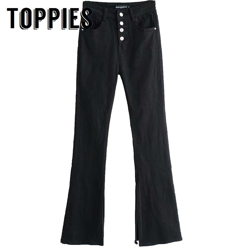 cda8ae565 2019 Women Bell Flare Jeans High Waist Black Button Horn Jeans Solid Color  Vintage Skinny Denim Pants Full Length Streetwear From Aprili, $31.58 |  DHgate.