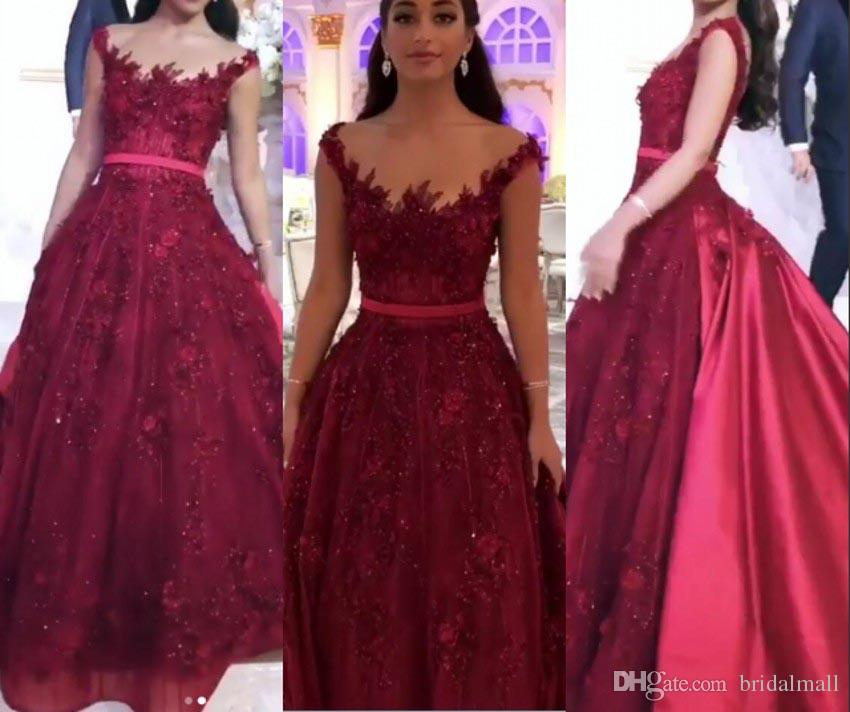 bf7842ae0e 3D Flowers Appliques Tulle Long Evening Dresses With Sash 2019 Illusion  Neck Formal Party Gowns Beaded Lace Burgundy Long Prom Dress Pageant Evening  Dresses ...