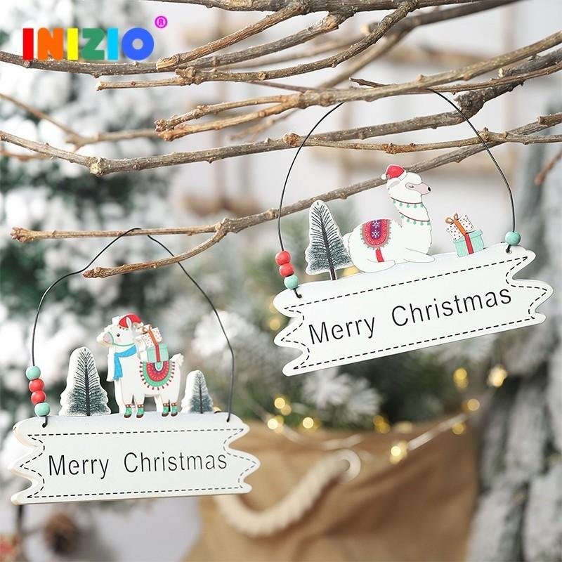 2019 New Year Alpaca Merry Christmas Tree Wooden Ornaments Lanyard Pendant Decoration Party Houses Pendant Car Xmas