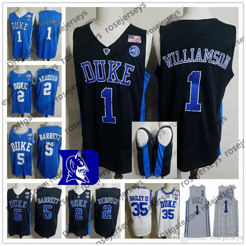 4f4836aaab40 2019 2019 Duke Blue Devils Zion Williamson Men Jerseys  1 NCAA 5 RJ Barrett  2 Cam Reddish Cameron Bagley Black Royal White College Basketball From ...