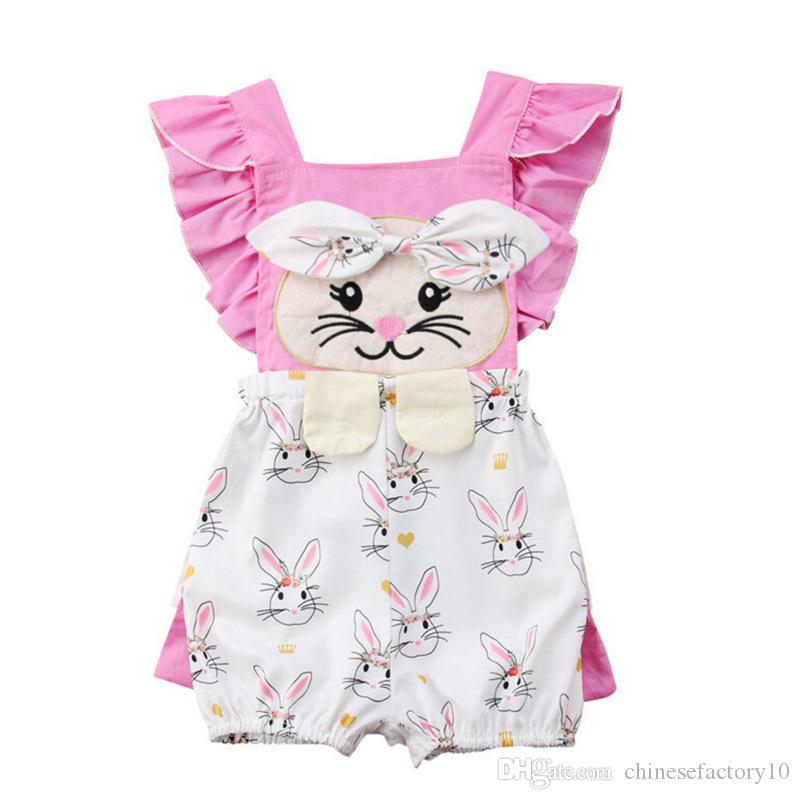22d40f871836 2019 Easter Baby Girls Rabbit Print Rompers Cartoon Infant Bunny Jumpsuits  2019 Summer Fashion Boutique Kids Climbing Clothes From Chinesefactory10