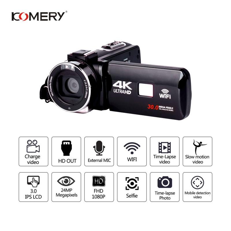 KOMERY Original 4K Video Camera Support Wifi Night Vision 3.0 Inch LCD Touch Screen Camera Fotografica Best Quality Lowest Price