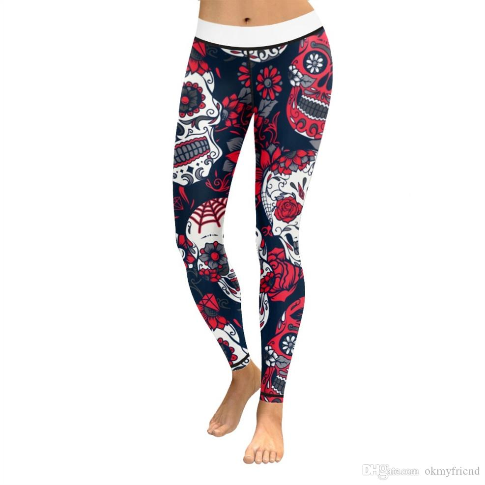 09e15355a4ac28 2019 Women Yoga Pants Fitness Sweatpants Sport Leggings Flower Red Skull 3D  Print High Waist Capris Elastic Gym Trouser Slim Jeggings #988438 From ...
