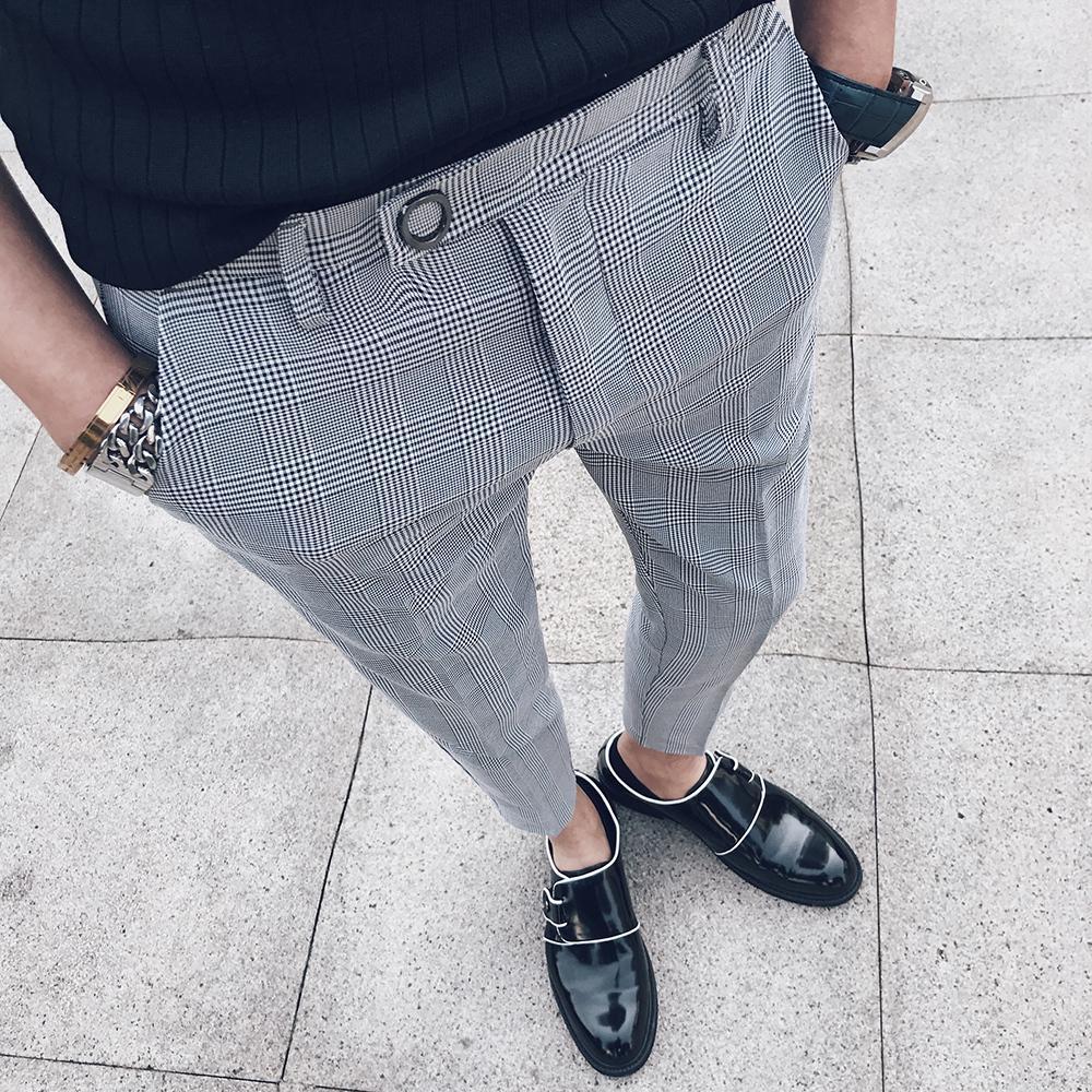 6f638d4328 Compre Pantalón A Cuadros Para Hombre Traje De Pantalon Para Hombre  Pantalones Formales Slim Fit Vestido Pantalón De Lujo Pantaloni Uomo Casual  Tobillo ...