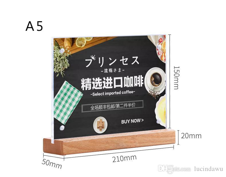 2019 a5 menu display acrylic sign holder note holder table poster stand price tag holder display stand for store restaurant hotel from lucindawu