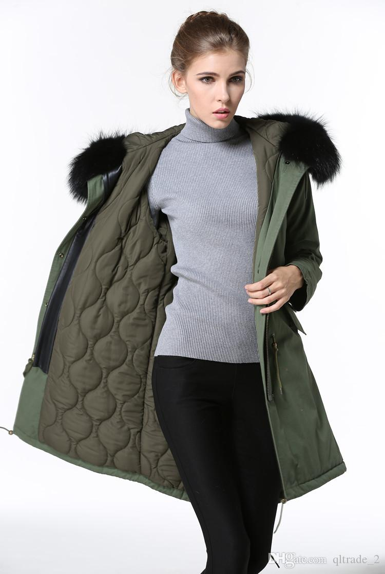 4 colours black raccoon fur trim Meifeng women snow jacket with ykk zipper army green down fill lining army green long parkas