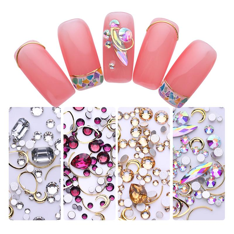 Nail Rhinestones Studs Flat Back Champagne Gold AB Colors Water Drop Mixed Design Acrylic 3D Nail Art Decorations DIY