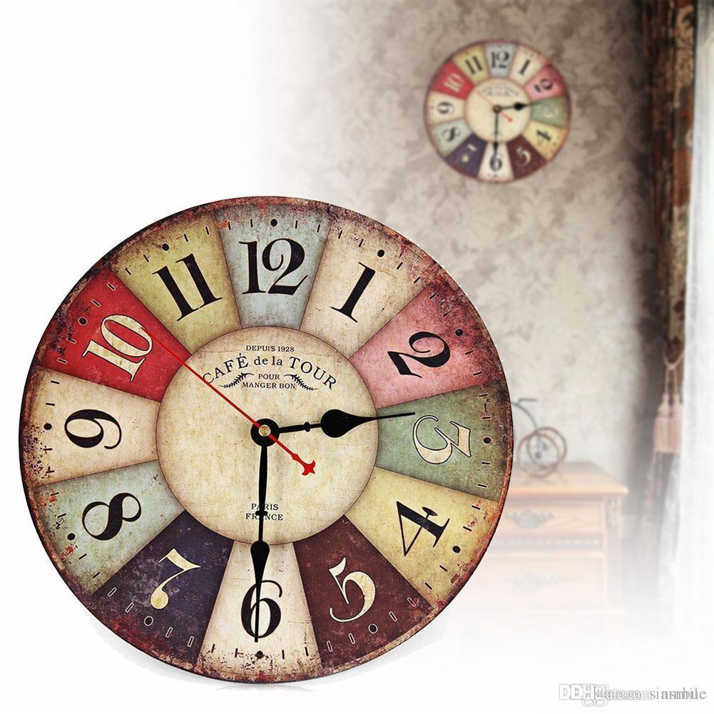 wholesale vintage wooden wall clock shabby chic rustic retro kitchen rh dhgate com