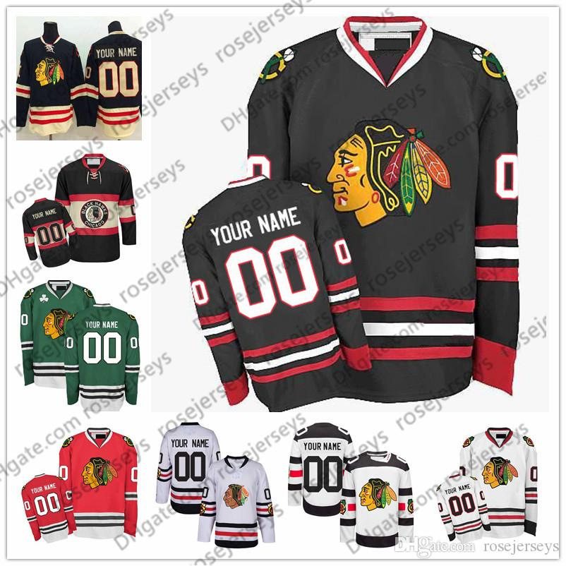 free shipping 4009e a003f Customize Chicago Blackhawks OLD BRAND Stadium Series Winter Classic Green  White Red Black Third 3rd cheap Jersey men women youth Kid S-4XL