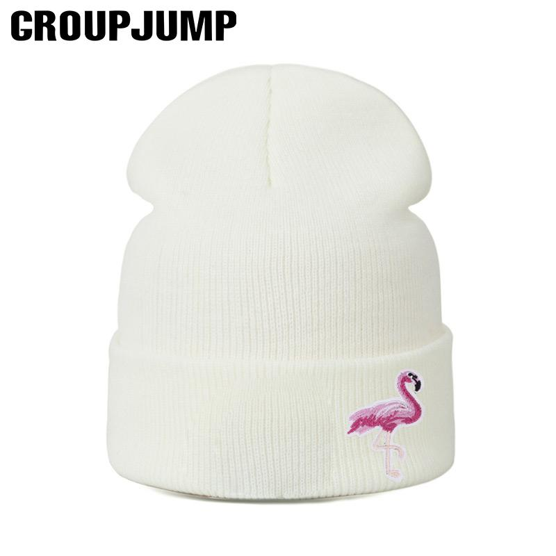 2f285faee5d Fashion Knitted Skullies Beanies Flamingo Winter Hats Women Knit Hat Winter  Beanies Thick Warm Caps Female Hats Girls Beanies S18120302 Knit Cap Slouch  ...