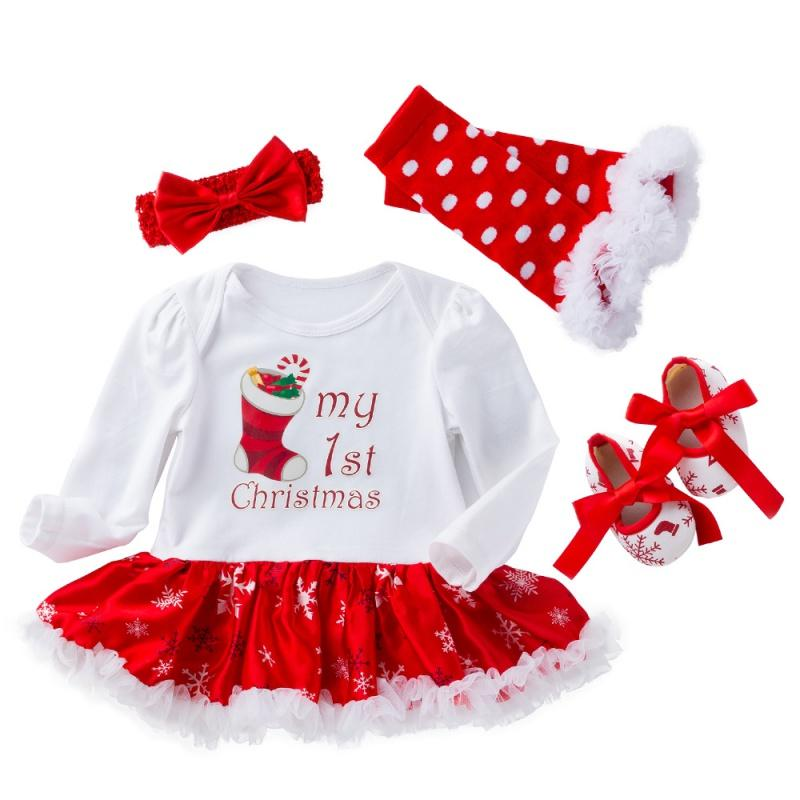 4Pcs First Christmas Baby Romper Tutu Skirt Set Newborn Baby Girl Clothes Gown Party Dress+Headband+Shoes+Leg warmer