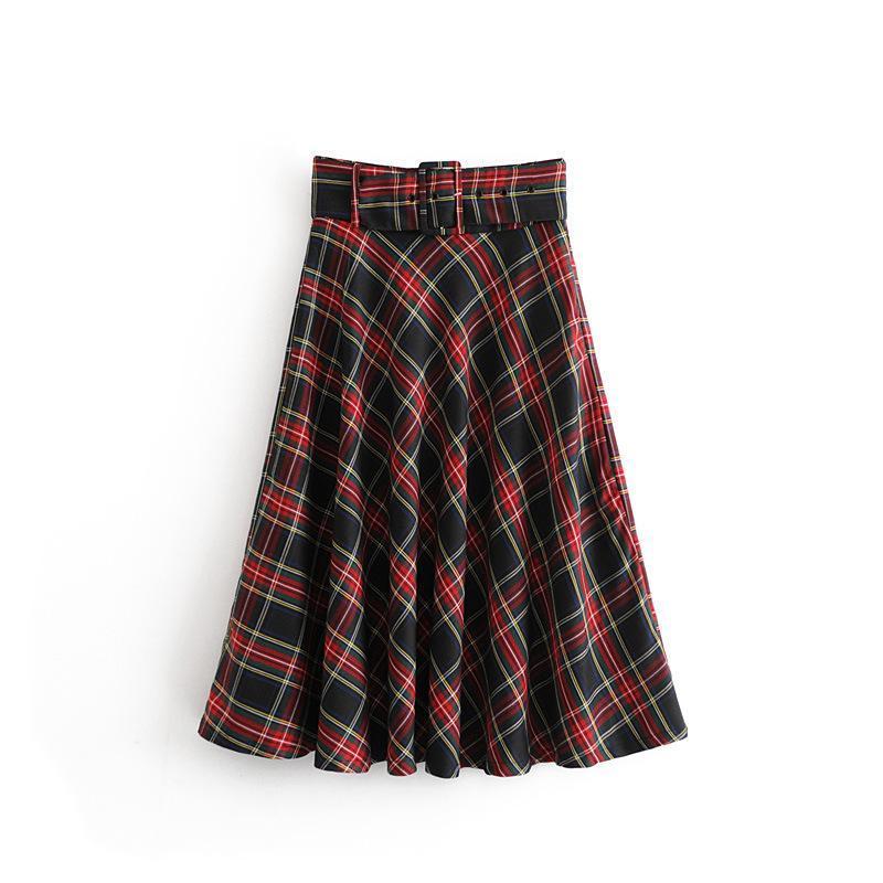 2606d5dd8 2019 Women Vintage Sashes Checked Plaid Midi Skirt Ladies Big Swing England  Style Long Chic Skirt Brand Mid Calf Skirts Black Sundresses Cute Party  Dress ...