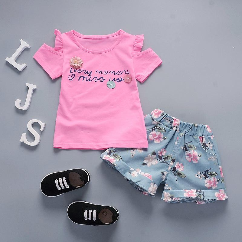 good quality Summer Baby Girls Clothing Set Toddler Clothes Set Kids Tracksuit Girl Tops+ Shorts Flower For Baby Girls Sport Suit
