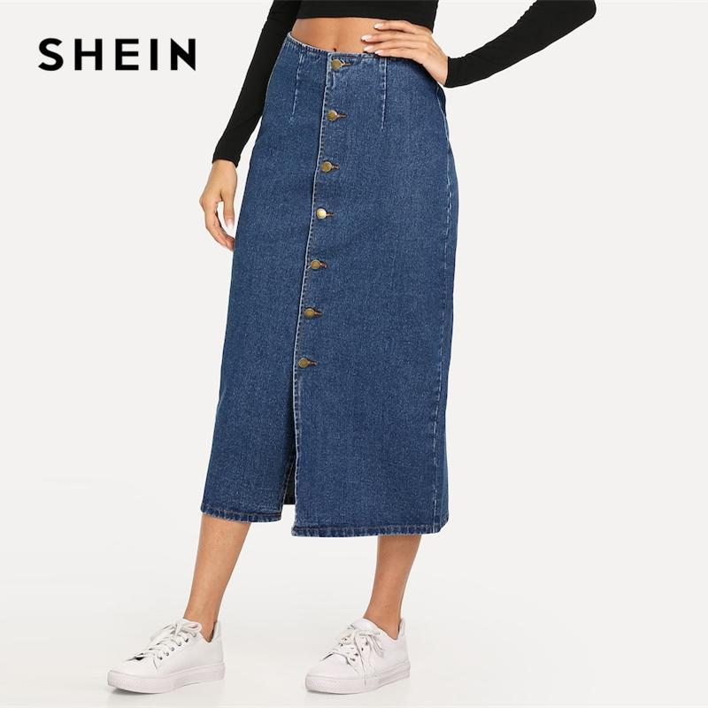ef3155d68b 2019 Wholesale Slit Front Button Up Denim Shift Skirt Casual Mid ...
