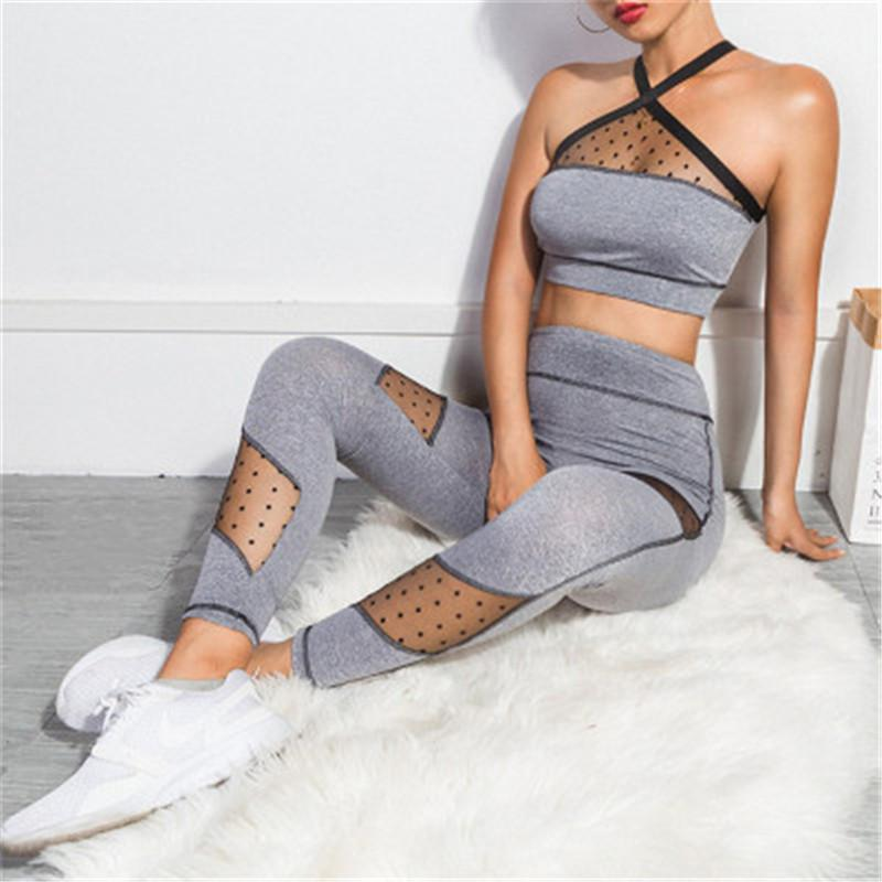 2019 Summer New Yoga Set Clothes For Women Dot Mesh Gauze Stitching Breathable Yoga Two Pieces