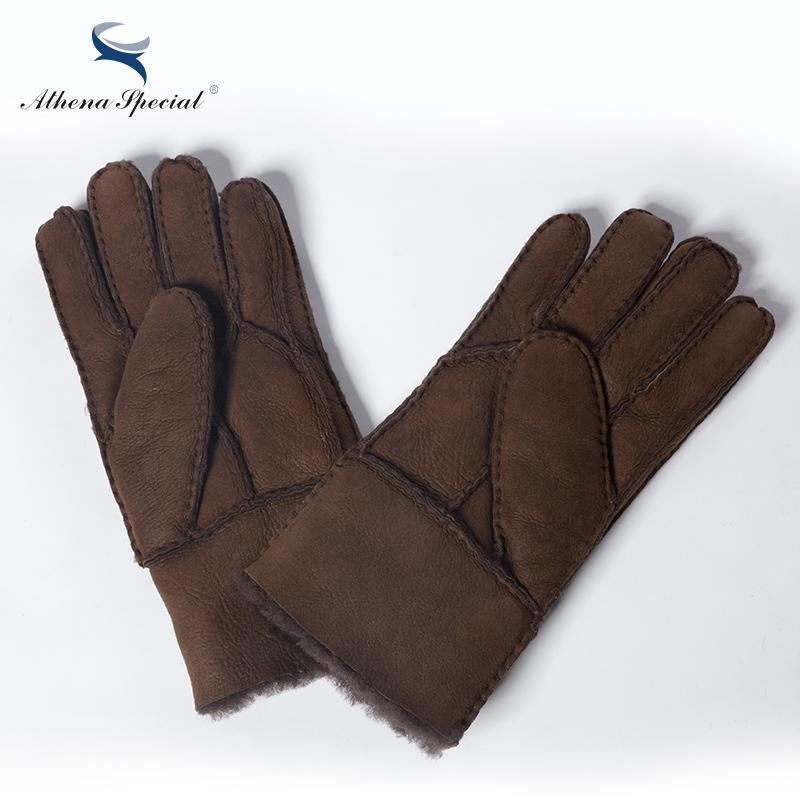 Athena Special Winter Fashion Real Leather Wool Fur Men's Gloves Heavy Type Warming Male Sheepskin Leather Fur Gloves S1025