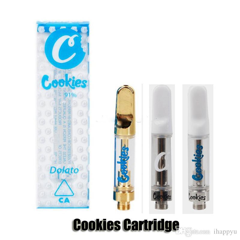 New Cookies carts Vape Cartridges 1 0ml California Ceramic Coil Vape Tank  510 Thread 11 Flavors Retail Package Gold Ceramic Tip for Thick Oi