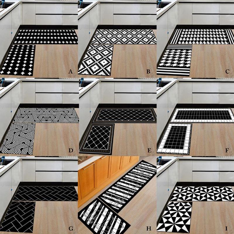 1pc Kitchen Floor Mat Geometric Pattern Area Rugs Carpets Doormat Living  Room Floor Mat Non-slip Bedside Rug 40*120cm