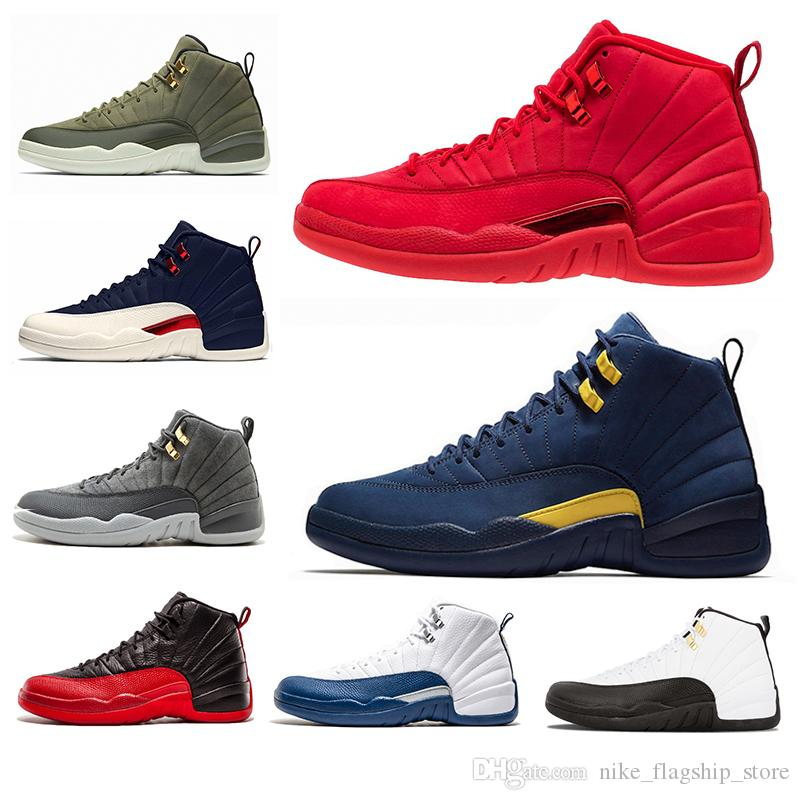158966a8d28e7a 12 Gym Red 12s College Navy Men Basketball Shoes Michigan WINGS ...