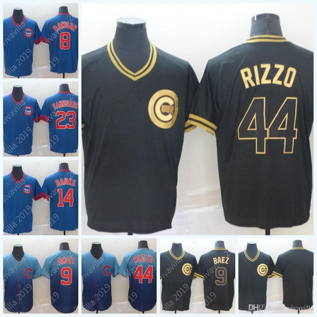 size 40 b9d3c af462 2019 Black Gold Chicago 9 Javier Baez AnthonyRizzo Collection Fade Legend  V-Neck Cubs Jerseys S-XXXL Fast Shopping