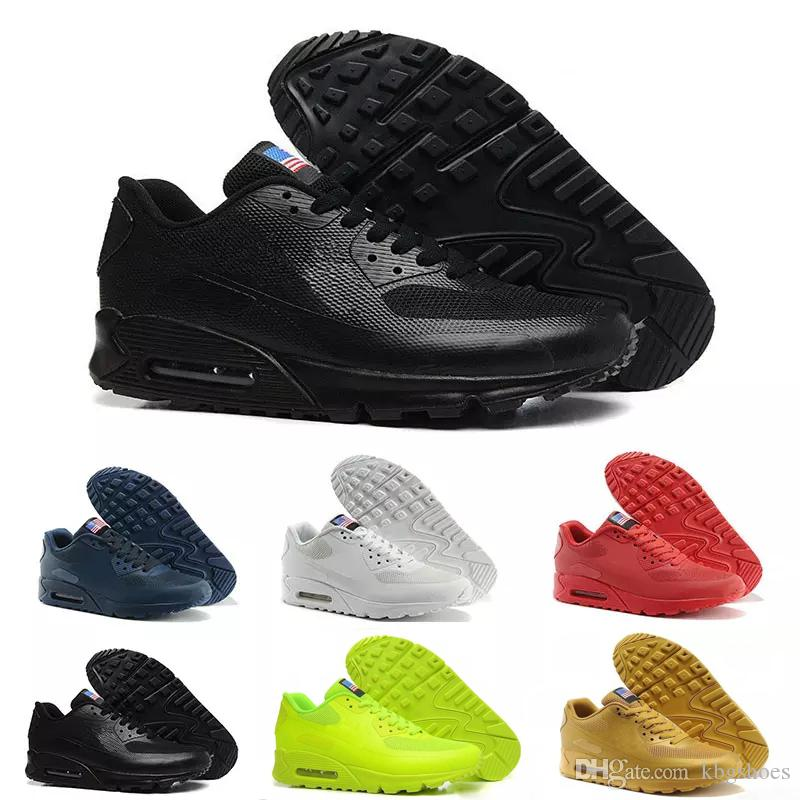 super popular 10579 9924b Acquista Nike Air Max Airmax 90 HYP PRM QS 2017 Alr 90 HYP PRM QS Uomo  Scarpe Da Corsa Da Donna Alr Anni 90 Bandiera Americana Nero Bianco Blu  Marino Oro ...