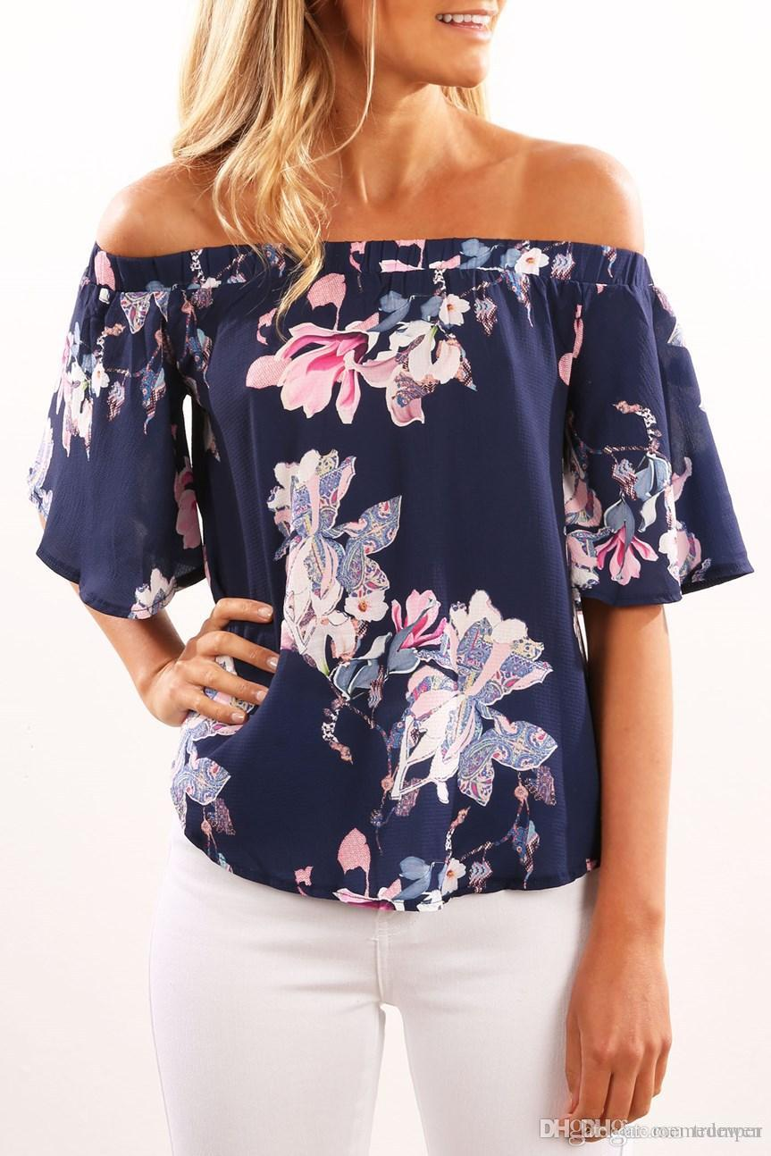fbd92fe8 2017 Sexy Off Shoulder Flare Short Sleeve Tops Women Casual Sexy Loose  Strapless Women'S T Shirts Summer Style XZ 034 T Shirt T Shirts From  Trumper, ...