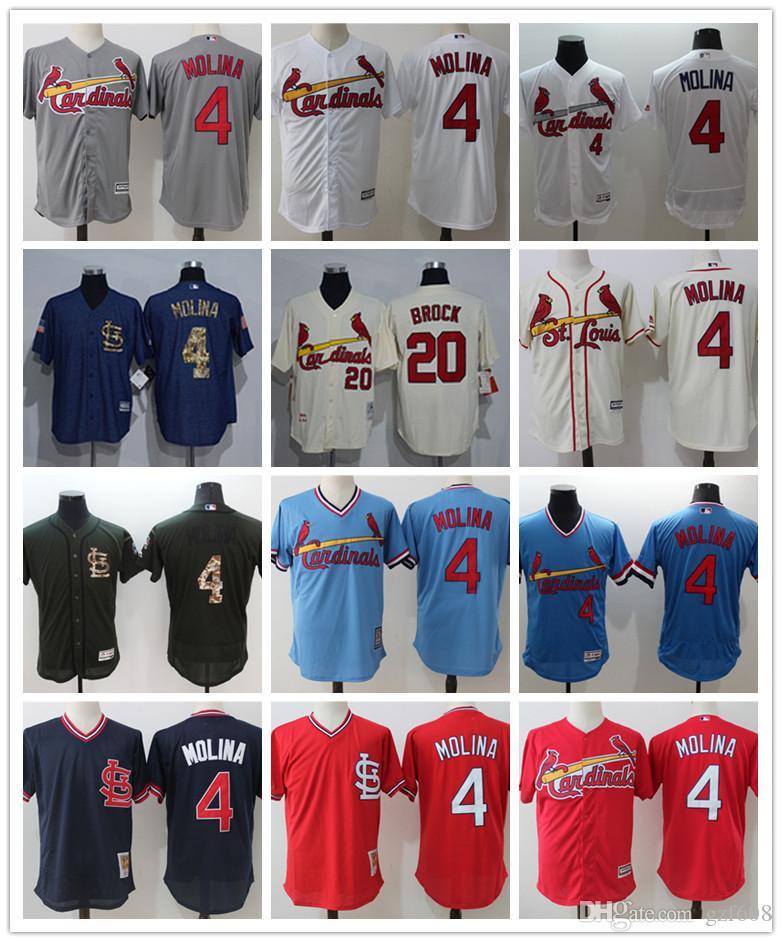 check out d4833 372e3 custom Men s women youth St. Louis Cardinals Jersey #4 Yadier Molina 20 Lou  Brock Red Grey White Baseball Jerseys