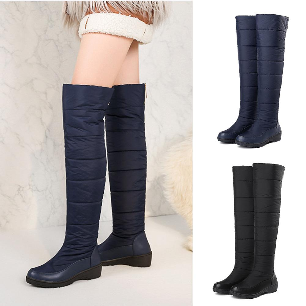 YJSFG HOUSE Winter Women Over The knee Boots Platform Warm Fur Winter Shoes Ladies Waterproof Snow Boots Large Size 35-44