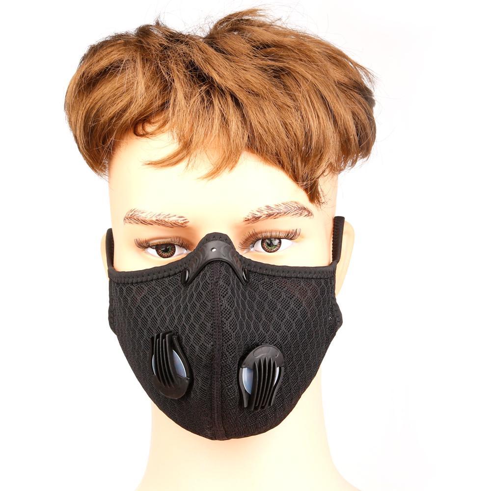 Vélo anti-poussière vélo masque facial Activated Équitation Cyclisme Course à pied Cyclisme carbone Anti-pollution Activé Masque carbone avec filtre Sac OPP