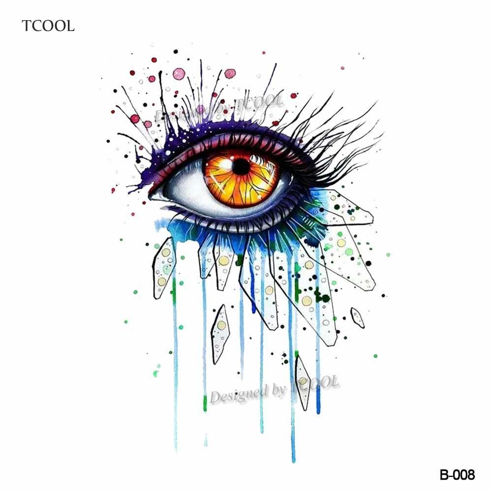 TCOOL Watercolor Women Eye Temporary Tattoo Sticker Waterproof ...