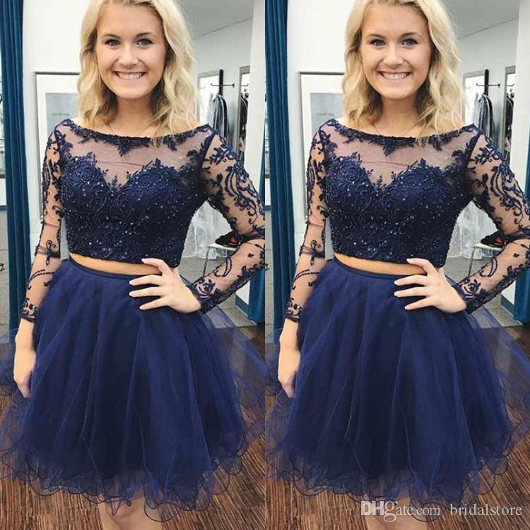 ce9c206033 Sexy Short Homecoming Dresses Navy Blue Boat Neck Sheer Lace Long Sleeve  Organza Formal Prom Party Gowns Beaded Unique Cocktail Gown Cheap White  Homecoming ...